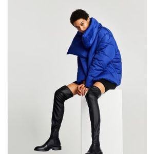 Zara FLAT OVER-THE-KNEE BOOTS WITH TOE DETAIL